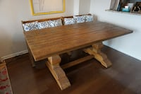 Arhaus solid wood dining table and bench Rockville