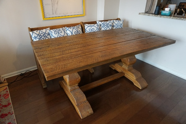 Arhaus solid wood dining table and bench