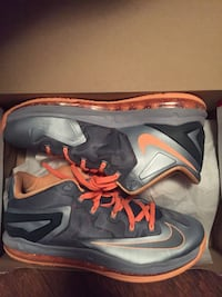 Leborn gray-and-orange nike high-top basketball shoes with box Birmingham, 35218
