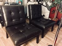 Leather tufted chairs