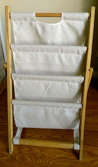 Folding 3-tier wood and cloth magazine stand rack