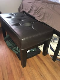 End bed Ottoman black faux leather
