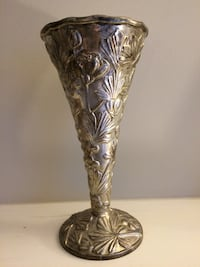 Flower Vase Silver Plated Raised Design