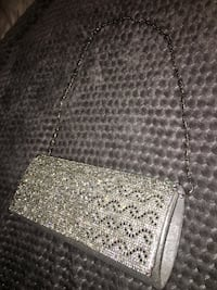 Diamond Studded Silver Clutch