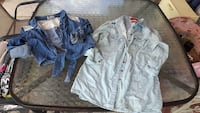 two gray and blue denim jackets