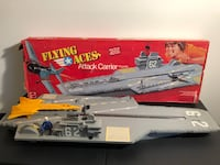 2 Aircraft Carriers 1975 Mattel and Remco 3 feet long Vintage toys with Original boxes
