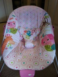 baby's pink and white bouncer 16 mi