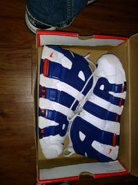 blue and white Adidas basketball shoes Bronx, 10458