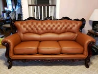 tufted brown leather sofa, love seat and chair Goshen, 10924