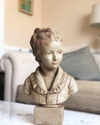 """Bust of girl. Unmarked. 15"""" high   29 km"""