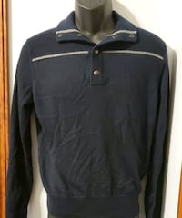 Banana Republic Solid Black with a single stripe Collared Sweater Middletown, 21769