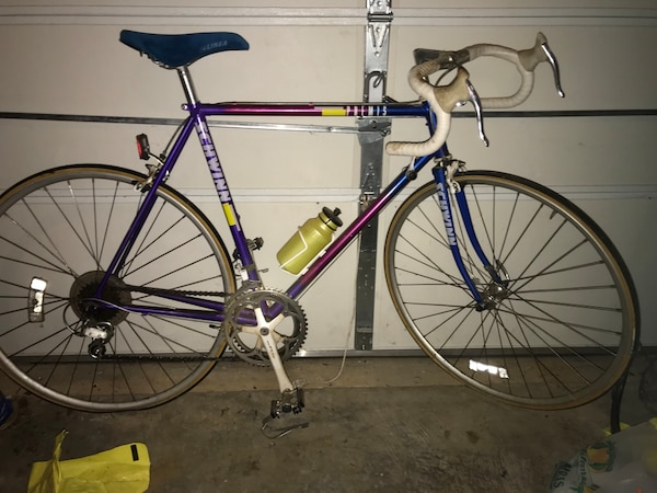 Purple and black road bike