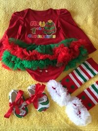 baby's red and green my 1st Christmas theme dress