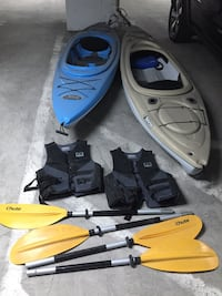 Pelican kayaks, paddles, and life vests