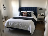 Blue Velvet Queen Bed frame with Headboard