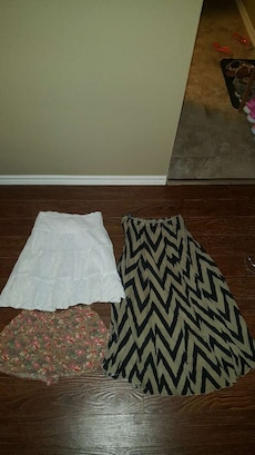 two skirts and floral short shorts