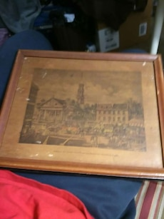 village sepia photo with brown frame