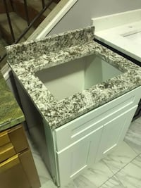 "24"" white shaker bathroom vanity single cabinet with custom cut granite top includes sink solid wood Fairfax"
