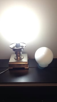 Brushed silver table lamp base and white glass globe Mississauga, L5J 1V6