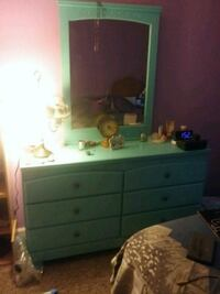 Blue six drawer  dresser and matching nightstand  Smethport, 16749