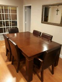 Solid wood dining set with 6 Leather Chairs  Hialeah, 33015