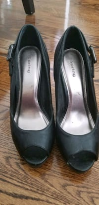 Spring black leather shoes size 38