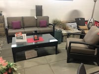 Black leather sectional couch with ottoman Coquitlam, V3K 1C5