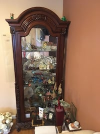 Cherry wood Curio with Full Glass