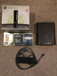 Black xbox 360 console with controller and game cases Shepherdstown, 25443