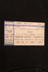 Rush used concert ticket