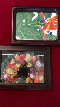 Two hawaiian floral small prints in solid wood frames Honolulu, 96817