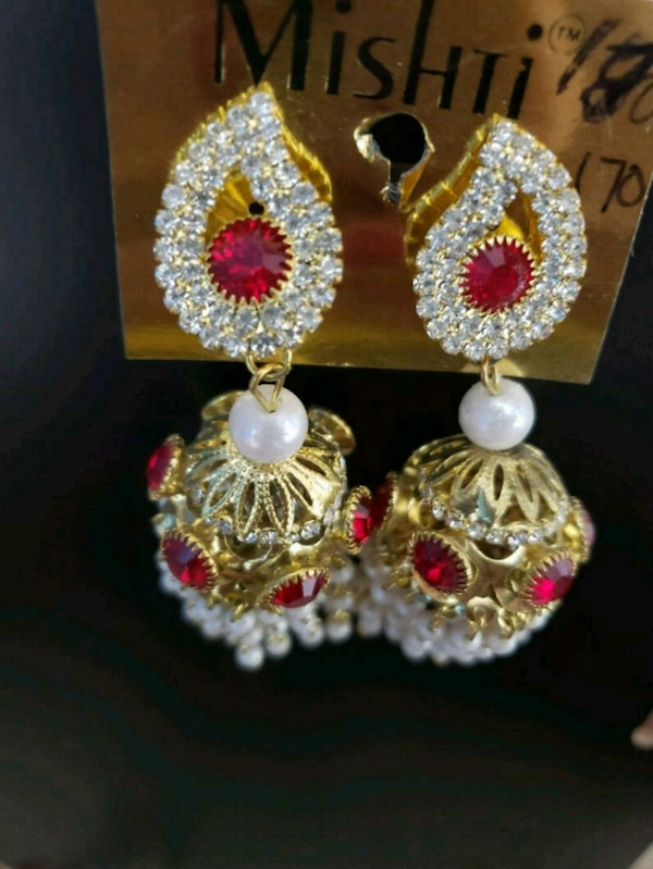 Red Silver Gold Indian-designed earrings  fb1edcc4-d5a3-4d07-be55-8a399cd70467