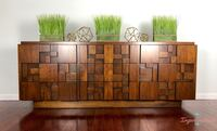 Rare Vintage Lane Brutalist Nine Drawer Credenza  Hampton, 23664