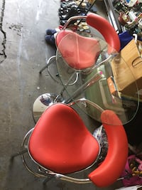 Three piece red and silver bistro set