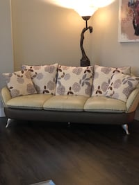 White and brown floral 3-seat sofa Surrey, V4N 6L3