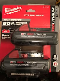 MAKE OFFER   MILWAUKEE M18 BATTERIES RED LITHIUM CP3.0  Inwood, 25428