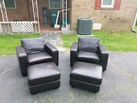 two faux leather club chairs with ottomans Richmond, 23230