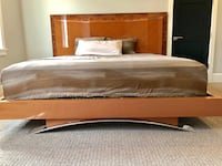 brown wooden bed frame with white bed sheet San Diego, 92126