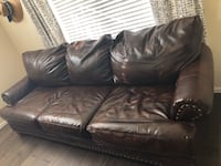 Brown leather 3-seat sofa Aurora, 80016
