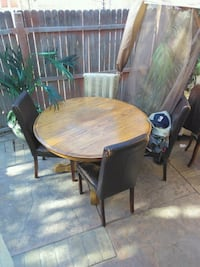 round brown wooden table with four chairs dining set Corona, 92879