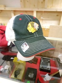 black and white Chicago Blackhawks fitted cap