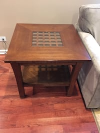Brown wooden framed glass top table Chicago, 60629