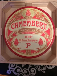 Camembert Assorted Plates, Set of 4 in original box.