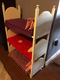 Custom built beds for American Girl Dolls.  Triple Bunk Bed.  Mattresses, pillows and blankets included. Toys, Doll Accessories.  American Girl Doll Accessories.  American Girl Doll Triple Bunkbeds. Rockville, 20850