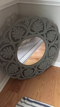 Gray Carved Wood Mirror Herndon, 20171