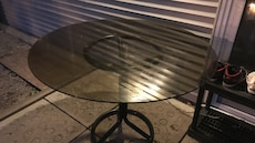 black frame and clear glass round table