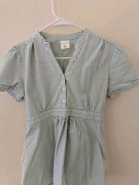 gray and white striped button-up shirt 27 mi