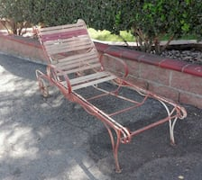 Vintage Wrought Iron Chaise Lounge