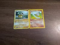 two Pokemon trading cards