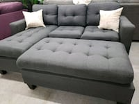 Grey reversible sofa chaise with large ottoman North Highlands